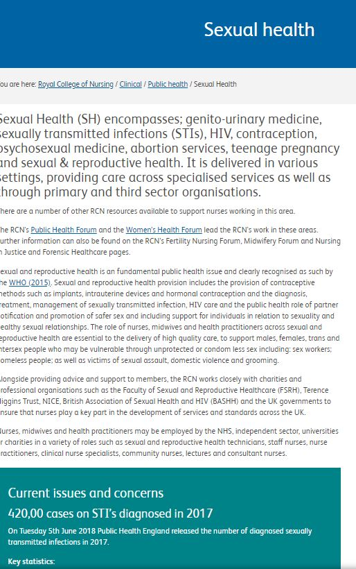 RCN Resources on Sexual Health