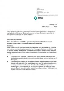 Letter circulated by MSD (manufacturer of Nexplanon®) to healthcare professionals in the UK about change to the recommended Nexplanon ® insertion site