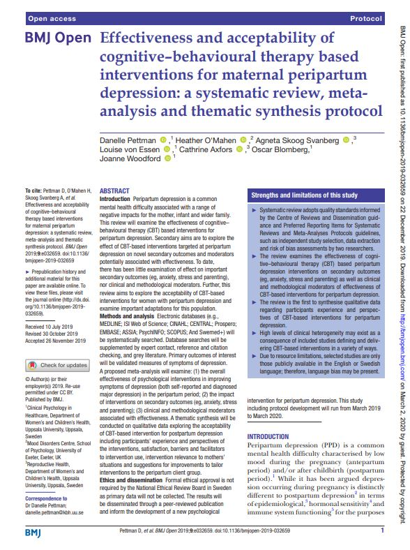 Effectiveness and acceptability of CBT based interventions for maternal peripartum depression