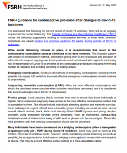FSRH contraceptive provision after Covid-19