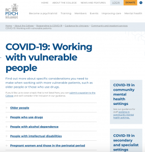 Royal College of Psychiatrists advice on COVID-19
