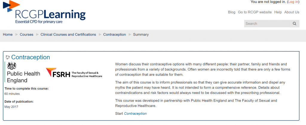 RCGP elearning contraception