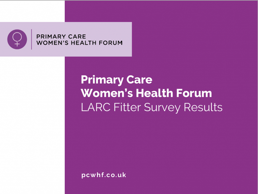 PCWHF LARC fitting in primary care survey results report cover