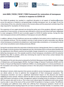 Cover of the Framework for restoration of menopause services in response to COVID-19