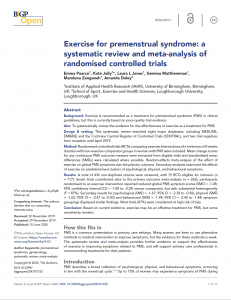 Exercise for premenstrual syndrome