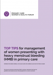 Top tips for management of heavy menstrual bleeding