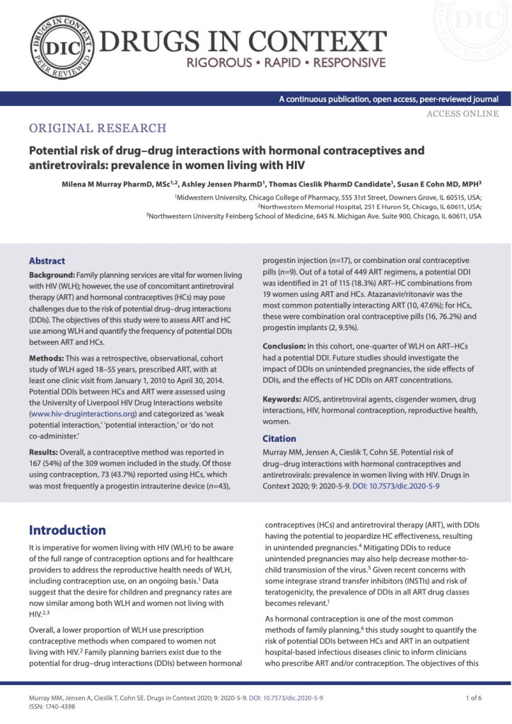 Potential risk of drug-drug interactions with hormonal contraceptives and antiretrovirals: prevalence in women living with HIV