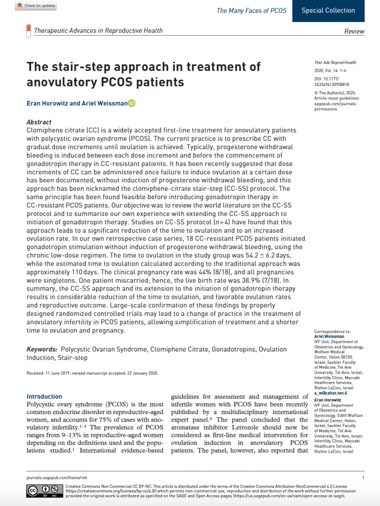 The stair-step approach in treatment of anovulatory PCOS patients
