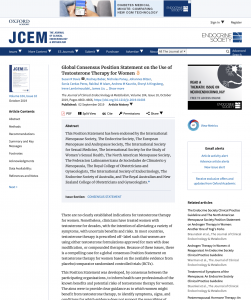 Global Consensus Position Statement on the Use of Testosterone Therapy for Women