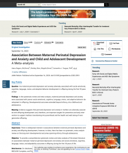 Association Between Maternal Perinatal Depression and Anxiety and Child and Adolescent Development