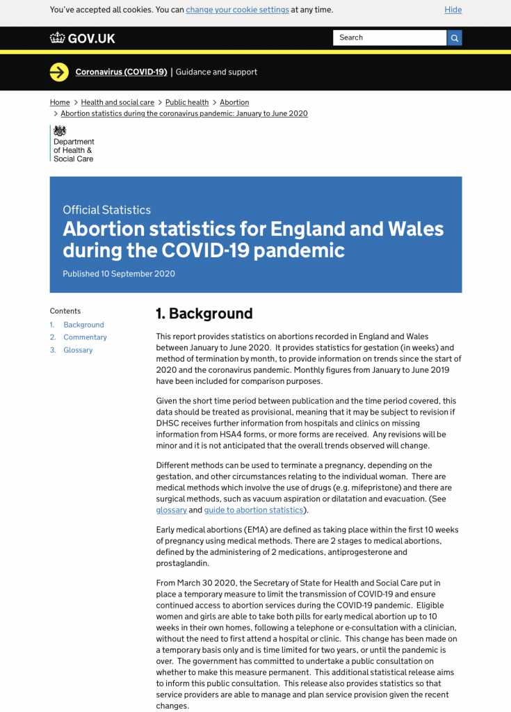 Abortion statistics for England and Wales during the COVID-19 pandemic