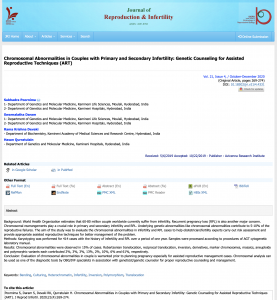 Chromosomal Abnormalities in Couples with Primary and Secondary Infertility: Genetic Counseling for Assisted Reproductive Techniques (ART)