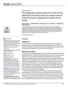 The diagnostic performance of CA125 for the detection of ovarian and non-ovarian cancer in primary care: A population-based cohort study.